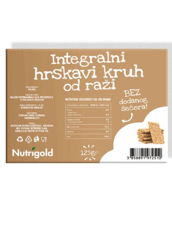 Nutrigold hrustljavi rženi kruhki brez dodanega sladkorja v plastični embalaži, 125g.