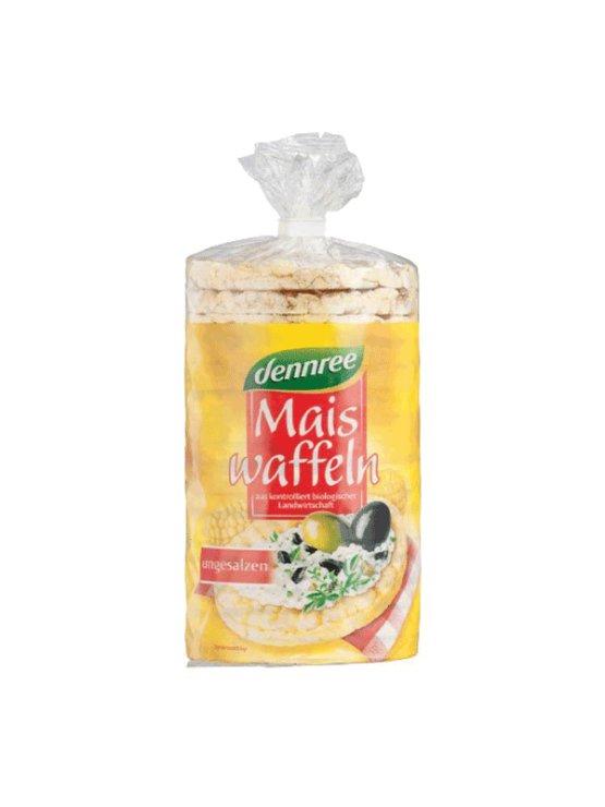 Dennree ekološki vaflji brez soli v prozorni plastični embalaži, 120g.