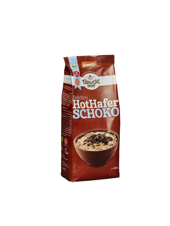 BauckHof ekološka čokoladni ovsena kaša brez glutena v plastični embalaži, 400g.