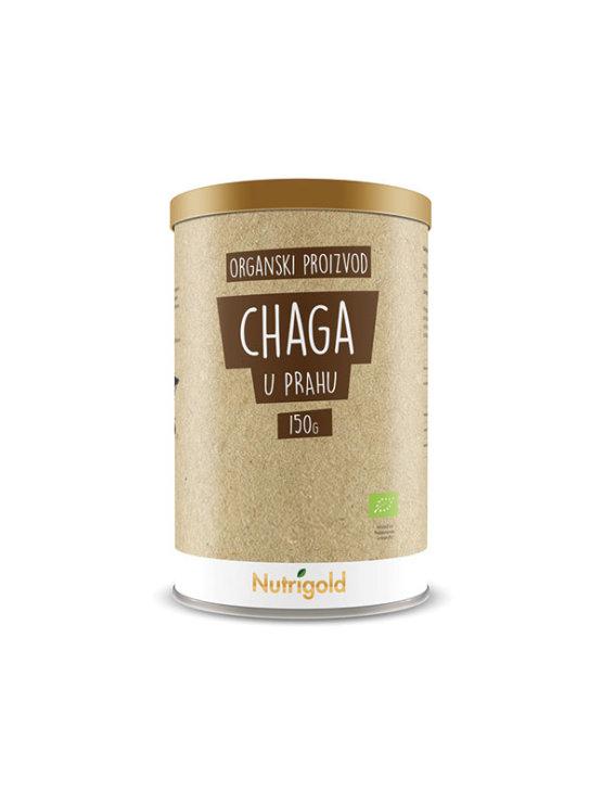 Nutrigold ekološka čaga (brezin luknjač) v prahu v 150 gramski rjavi embalaži.