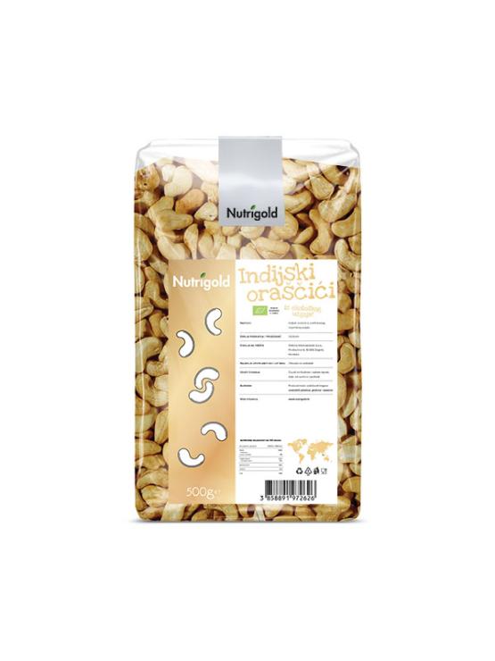 Nutrigold ekološki indijski oreščki v prozorni plastični embalaži, 500g.