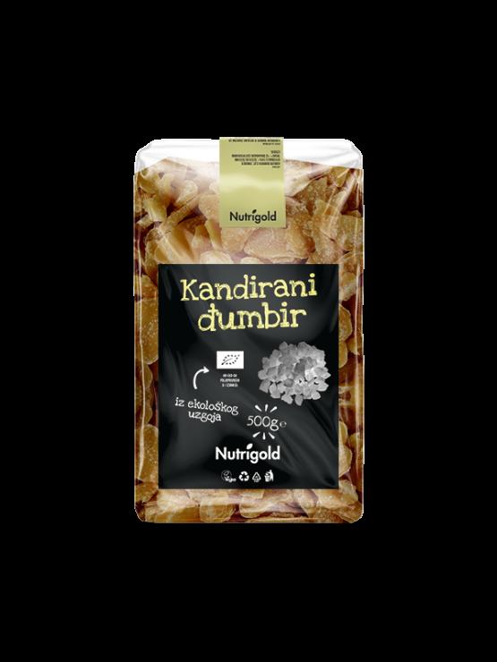 Nutrigold kandirani ekološki ingver v prozorni plastični embalaži, 500g.