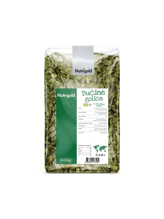 Nutrigold ekološke bučne golice v prozorni 1000 gramski embalaži.