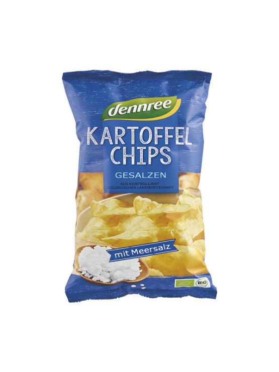 Dennree ekološki slani čips v plastični embalaži, 125g.