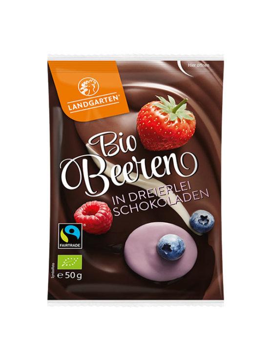 Landgarten ekološki gozdni sadeži obliti s temno čokolado v plastični embalaži, 50g.
