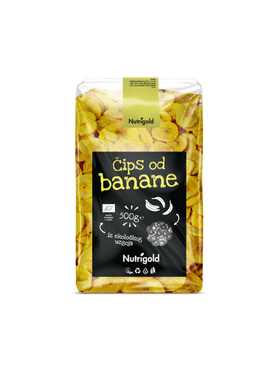 Nutrigold ekološki bananin čips v 500 gramski prozorni plastični embalaži.