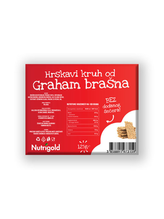 Nutrigold ekološki hrustljevi grahamovi kruhki v plastični embalaži, 125 g.