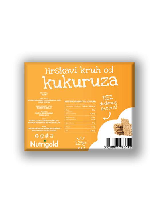 Nutrigold ekološki hrustljavi koruzni kruhki brez sladkorja v plastični embalaži, 125g.