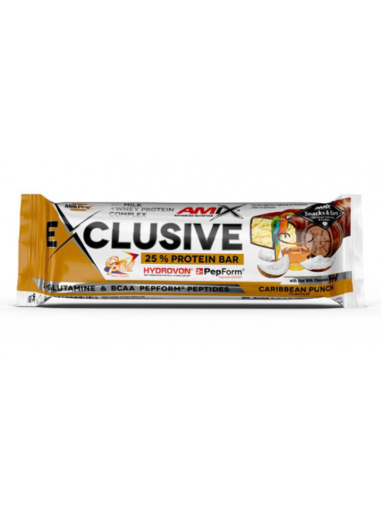 Amix Exclusive beljakovinska ploščica Carribean punch v plastični embalaži, 40g.