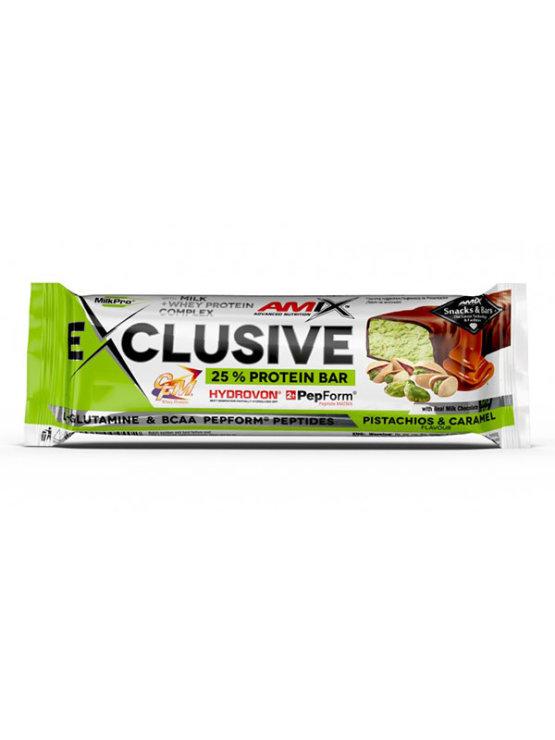 Amix Exclusive beljakovinska ploščica s pistacijo in karamelo v plastični embalaži, 40g.