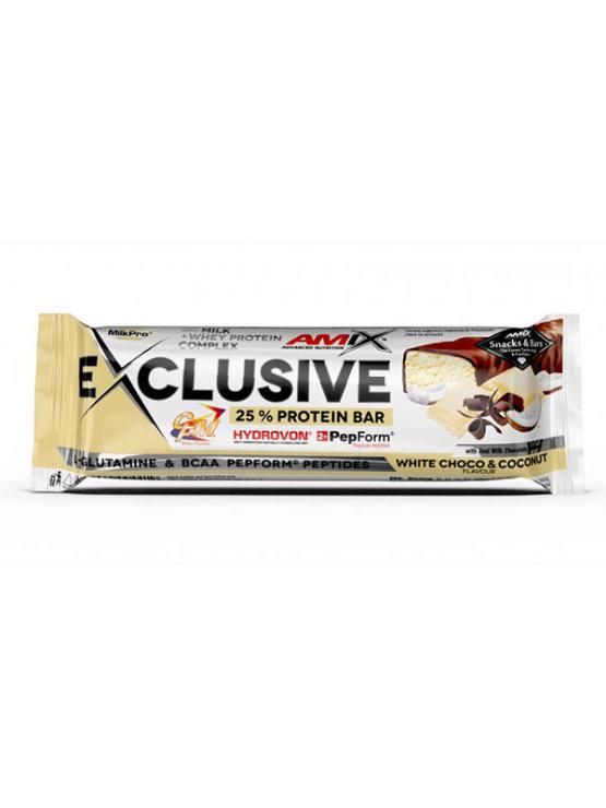 Amix Exclusive beljakovinska ploščica z belo čokolado in kokosom, 40g.