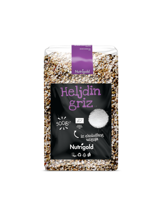 Nutrigold ekološki ajdov zdrob v 500 gramsi prozorni plastični embalaži.