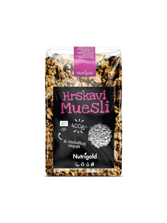 Nutrigold ekološki hrustljavi müsli v prozorni plastični embalaži, 400g.