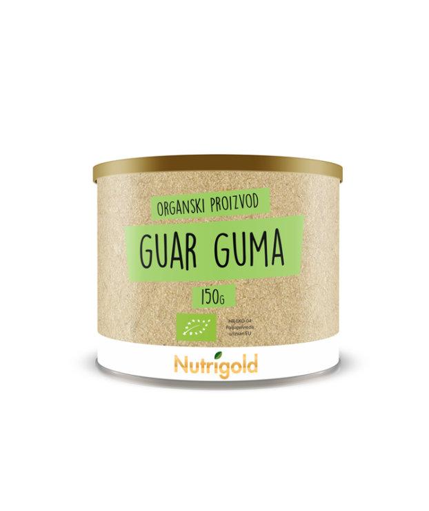Nutrigold ekološki guar gumi v 150 gramski rjavi embalaži.