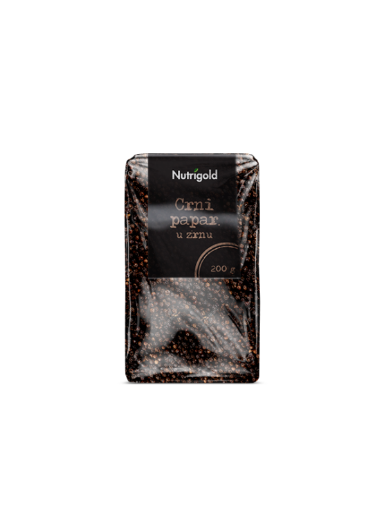 Nutrigold črni poper v zrnu v 200 gramski prozorni plastični embalaži.