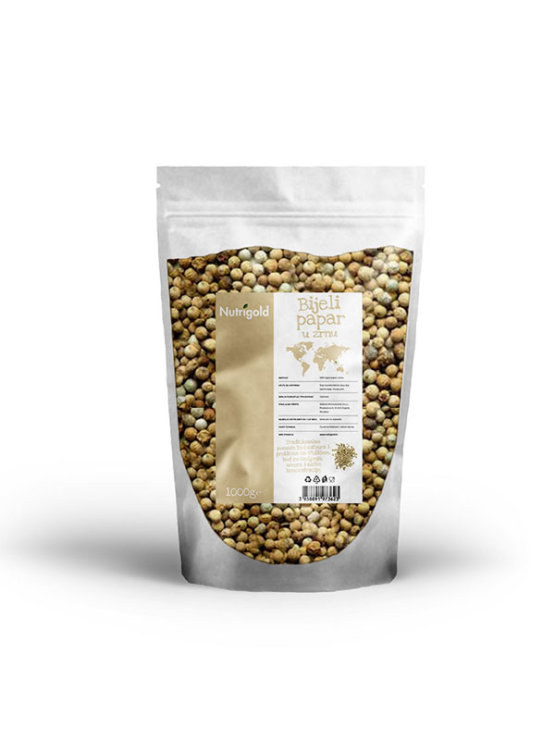 Nutrigold beli poper v zrnu v 1000 gramski prozorni embalaži.