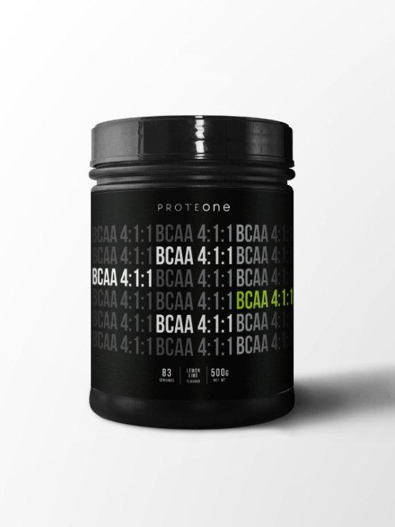 Proteone Bcaa 4:1:1 Superior Limona&Limeta v črni plastični embalaži, 500g.