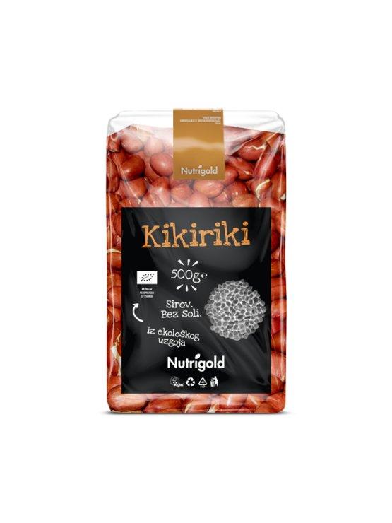 Nutrigold ekološki arašidi v 500 gramski prozorni plastični embalaži.