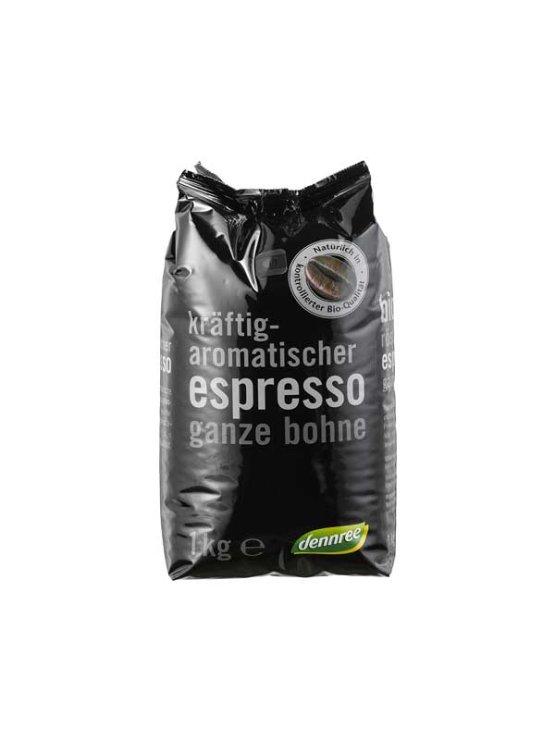 Dennree ekološka espresso kava v zrnu v plastični embalaži, 1kg.