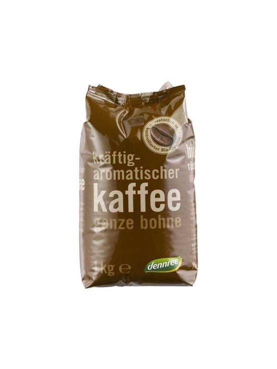 Dennree ekološka pražena kava v zrnu v plastični embalaži, 1kg.