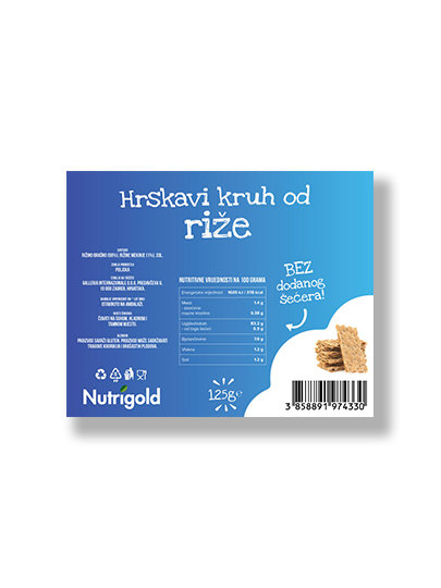 Nutrigold hrustljavi riževi kruhki brez dodanega sladkorja v plastični embalaži, 125g.