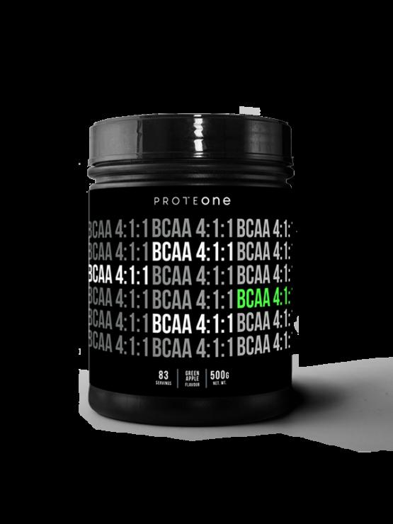 ProteOne Bcaa 4:1:1 Superior aminokisline z okusom zelenega jabolka v črni plastični embalaži, 500g.