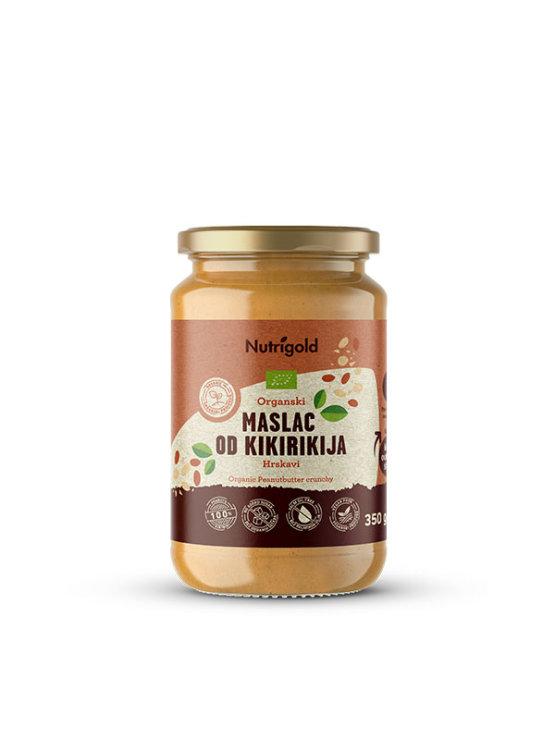 Nutrigold ekološko hrusltjavo arašidovo maslo v 350 gramski stekleni embalaži.