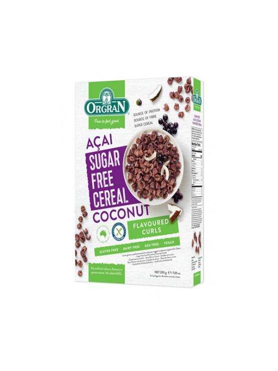 Orgran Kosmiči z Acai jagodami in kokosom, brez sladkorja, v kartonski embalaži, 200g.