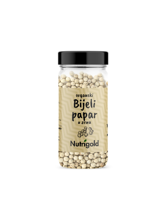Nutrigold ekološki beli poper v 50 gramski prozorni stekleni embalaži.