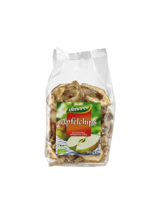 Dennree ekološki jabolčni čips v prozorni plastični embalaži, 90g.