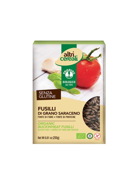 Probios ekološke ajdove testenine brez glutena v obliki svedrov v kartonski embalaži.