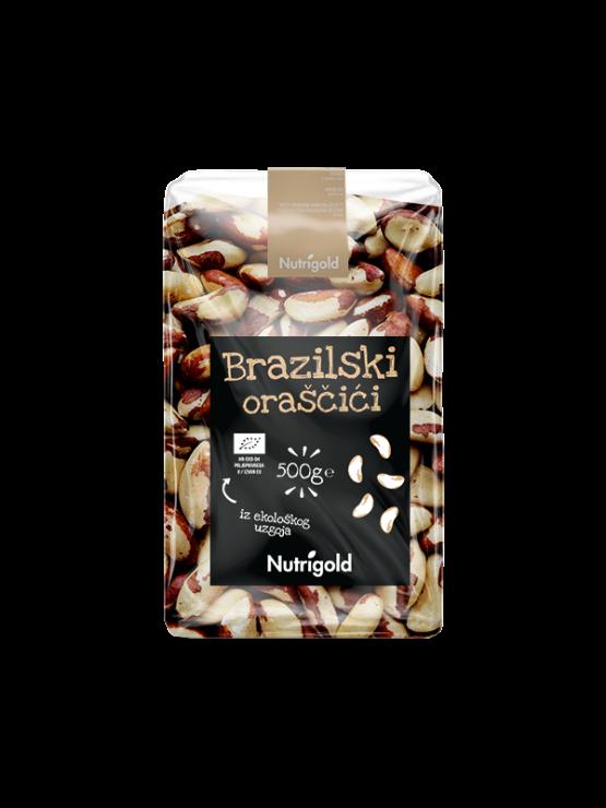 Nutrigold Ekološki brazilski oreščki v 500 gramski prozorni plastični embalaži.