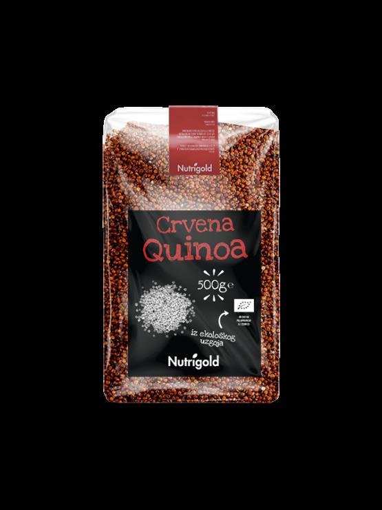 Nutrigold ekološka rdeča kvinoja v prozorni plastični embalaži, 500g.