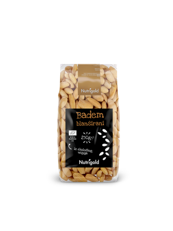 Nutrigold ekološki blanširani mandlji v 250 gramski prozorni embalaži