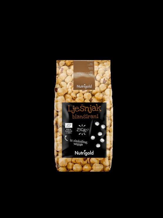 Nutrigold ekološki blanširani lešniki v 250 gramski prozorni embalaži