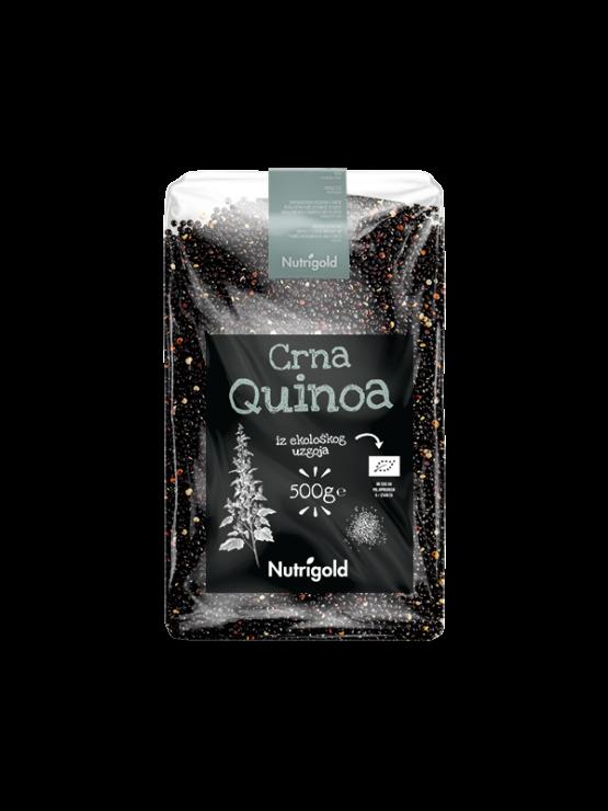 Nutrigold ekološka črna kvinoja v prozorni plastični embalaži, 500g.