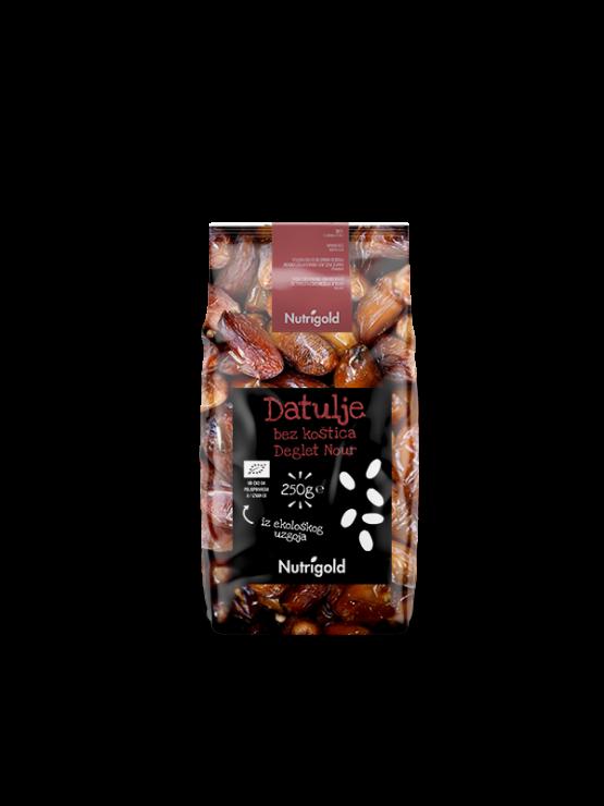 """Nutrigold ekološki dateljni """"Deglet Noit"""" brez koščic v 250 gramski plastični embalaži."""