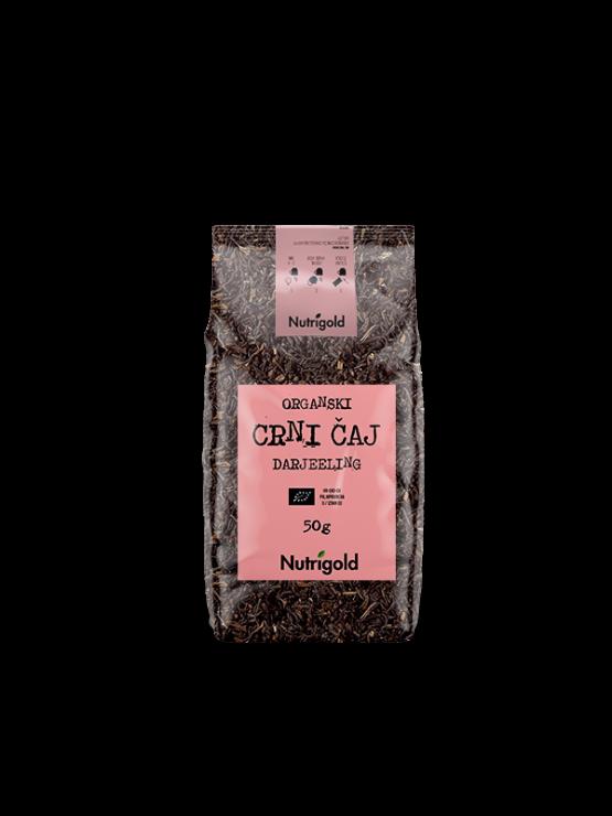 Nutrigold ekološki črni čaj Darjeeling v 50 gramski rjavi emblaži.