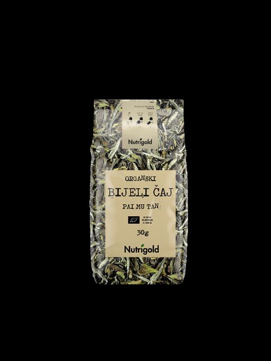Nutrigold ekološki beli čaj Pai Mu Tan v 30 gramski embalaži.