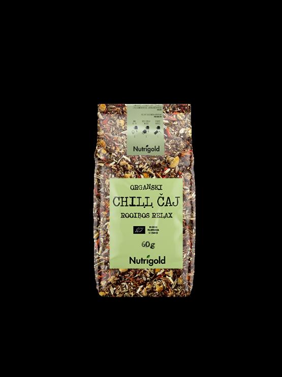 Nutrigold ekološki Chilli čaj Roiboos relax v 60 gramski plastični embalaži.