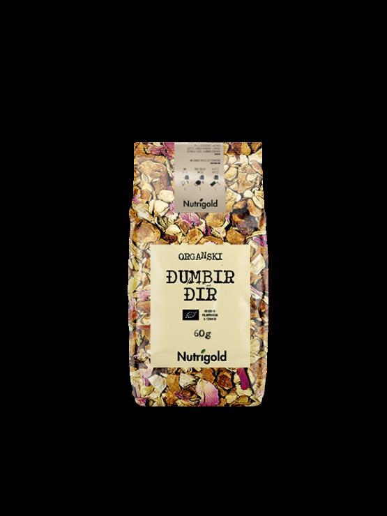 Nutrigold ekološki ingverjev čaj v 60 gramski plastični embalaži.