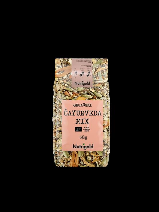 Čajurveda ekološka čajna mešanica v 60 gramski plastični embalaži.