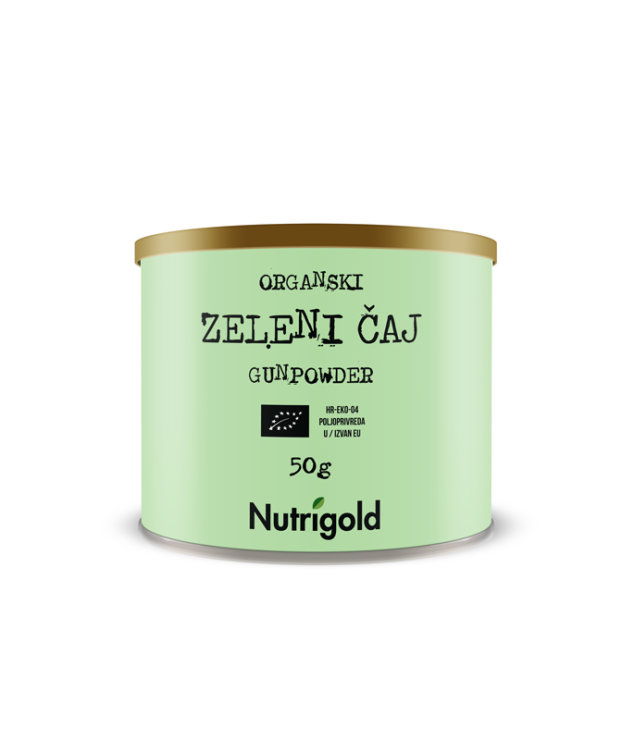 Nutrigold ekološki gunpowder zeleni čaj v 50 gramski embalaži.
