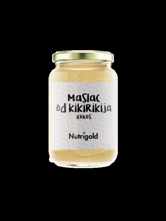 Nutrigold rjavo  arašidovo maslo z dodatkom kokosa v 300 gramski stekleni embalaži.