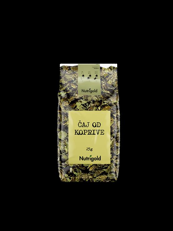 Koprivin čaj v prozorni 25 gramski plastični embalaži z nalepko.