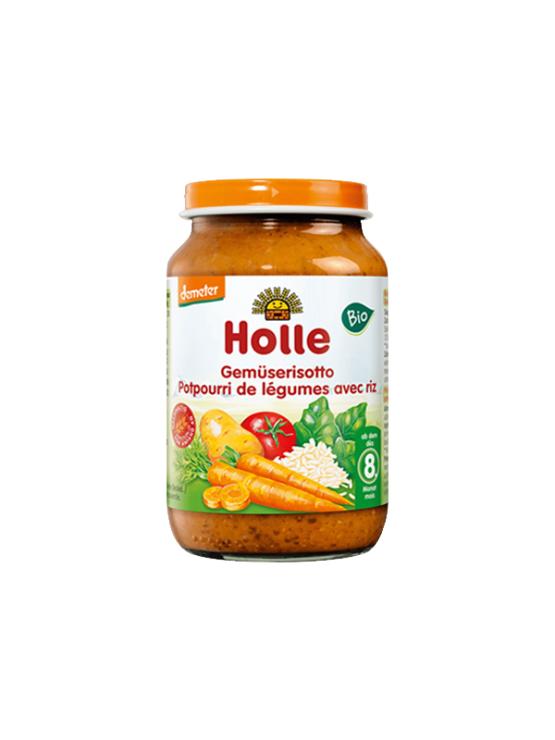 Holle ekološka kašica z mešano zelenjavo in rižem v kozarcu, 220g.