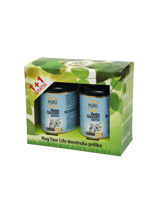 Hug Your Life (1+1) Beta Glucan premium & C3 Complex 120 kapsul v temni embalaži.