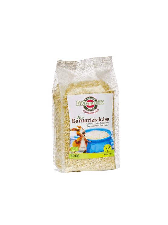 Biorganik ekološka kaša iz rjavega riža v prozorni plastični embalaži, 200g.