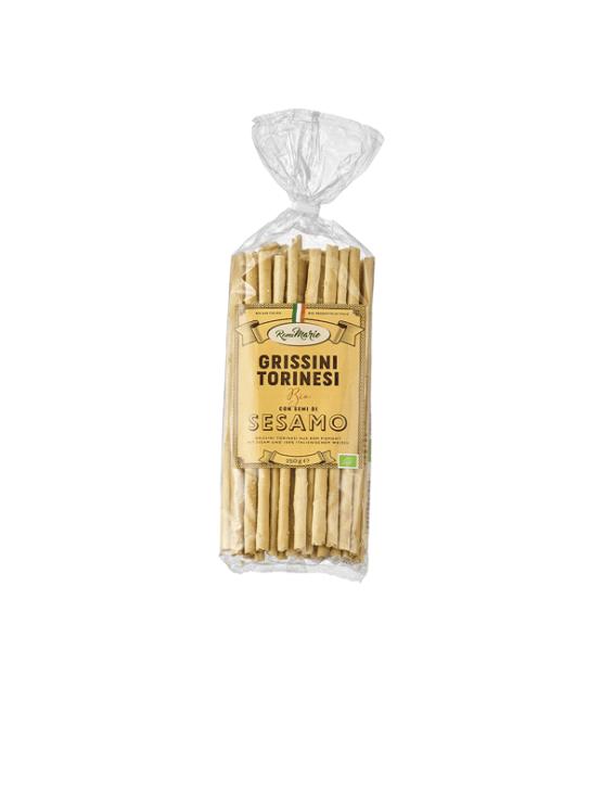 Romina ekološki Grissini Torinessi s sezamom v plastični embalaži, 250g.