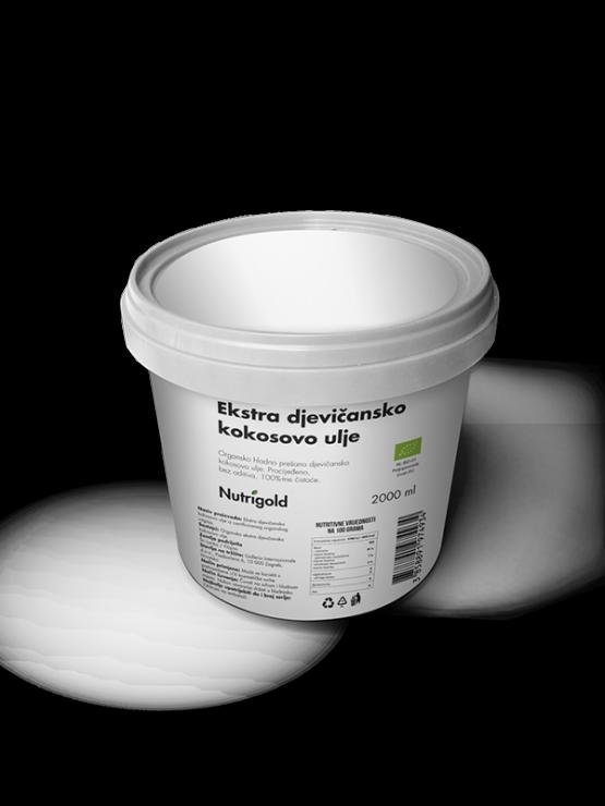 Nutrigold ekološko ekstra deviško kokosovo olje v beli plastični embalaži, 2000ml.